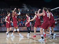 STANFORD, CA - March 2, 2019: Jaylen Jasper, Paul Bischoff, Eli Wopat, Kyler Presho, Stephen Moye at Maples Pavilion. The Stanford Cardinal defeated BYU 25-20, 25-20, 22-25, 25-21.