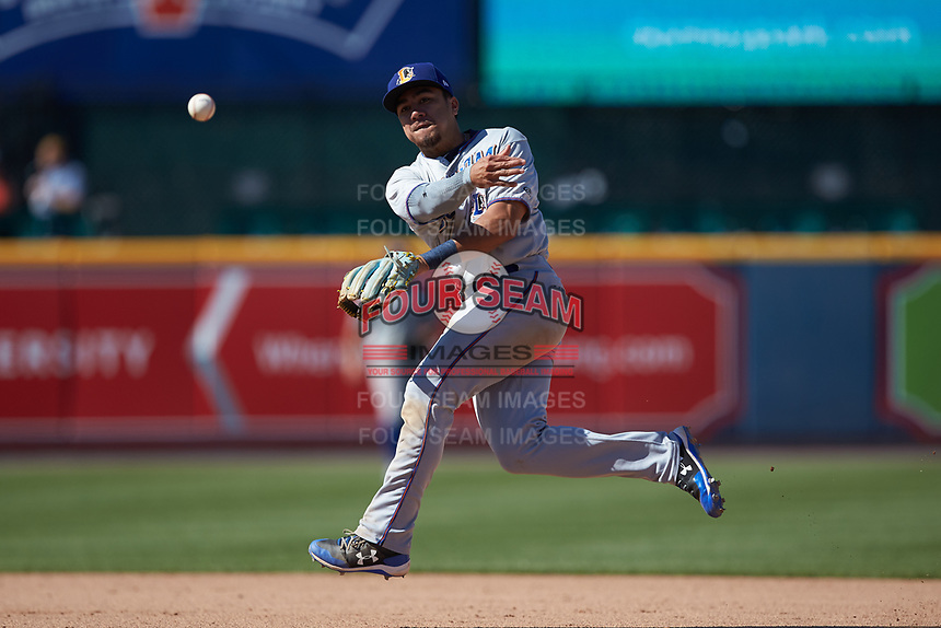 Durham Bulls second baseman Keon Wong (26) makes a throw to first base against the Lehigh Valley Iron Pigs at Coca-Cola Park on July 30, 2017 in Allentown, Pennsylvania.  The Bulls defeated the IronPigs 8-2.  (Brian Westerholt/Four Seam Images)