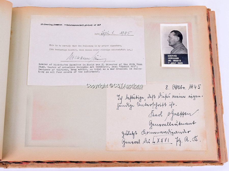 BNPS.co.uk (01202 558833)<br /> Pic: C&TAuctions/BNPS<br /> <br /> Herman Goering  who cheated the hangman by taking cyanide after being sentanced to death.<br /> <br /> A unique album of mugshots and signatures that helped bring scores of Nazi war criminals to justice has been unearthed more than 70 years later.<br /> <br /> The gallery that is like a Who's Who of Hitler's henchmen involved in the Holocaust was assembled by an Allied intelligence officer whose job was to interrogate the monsters.<br /> <br /> A vital part of the questioning was to get them to provide an authentic signature to compare it with handwriting of Nazi officials who signed off orders for war atrocities.<br /> <br /> The album is being sold at C&T Auctioneers of Ashford, Kent, on September 7.