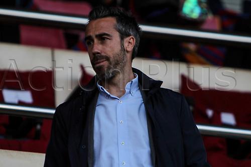 28th March 2018, Mini Estad, Barcelona, Spain; Womens Champions League football, quarter final, 2nd leg, Barcelona Women versus Lyon Women; Spanish national womens team manager Jorge Vilda