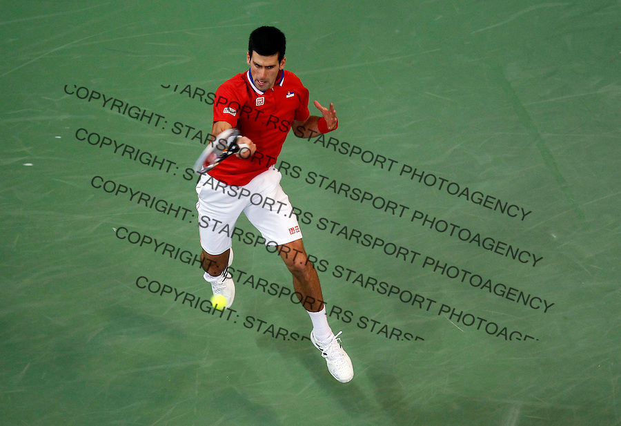 Tennis Tenis<br /> Davis Cup Final 2013<br /> Serbia v Czech republic<br /> Novak Djokovic v Radek Stepanek<br /> Novak Djokovic in action<br /> Beograd, 15.11.2013.<br /> foto: Srdjan Stevanovic/Starsportphoto &copy;
