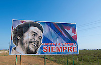Billboard in Giron Cuba about Bay of Pigs in Spanish saying Ever Onward to Victory by Che or Che Guevara