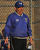 Long Beach varsity softball head coach Carmine Verde politely asks for clarification of a call during a a Nassau County game against East Meadow at Long Beach High School on Monday, May 4, 2015. Long Beach won by a score of 2-0.<br /> <br /> James Escher