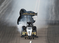 Feb 22, 2014; Chandler, AZ, USA; NHRA top fuel dragster driver Khalid Albalooshi during qualifying for the Carquest Auto Parts Nationals at Wild Horse Motorsports Park. Mandatory Credit: Mark J. Rebilas-USA TODAY Sports