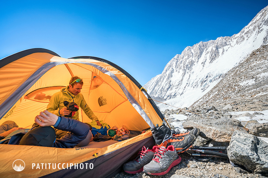 Ueli Steck and David Göttler at their advance basecamp tent during a climbing expedition to the 8000 meter peak Shishapangma, Tibet