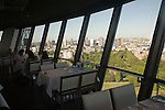 Cafe restaurant with views high above the city from the 185 metre tall Euromast tower, Rotterdam, Netherlands