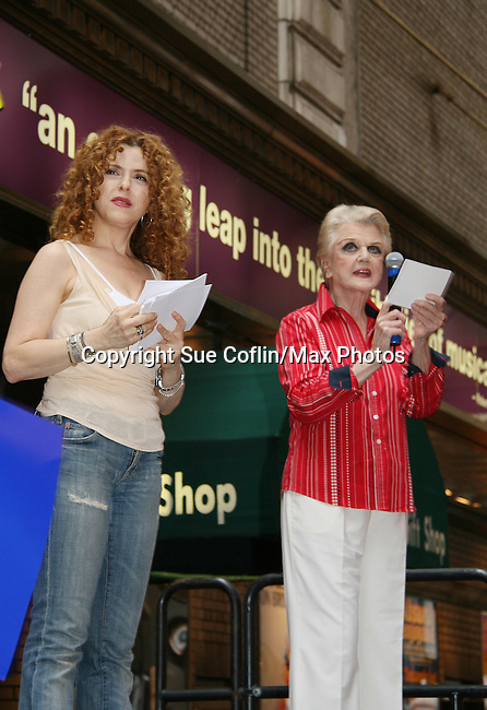 "Bernadette Peters and Blithe Spirit's Angela Lansbury at Broadway Barks 11 - a ""Pawpular"" star-studded dog and cat adopt-a-thon on July 11, 2009 in Shubert Alley, New York City, NY. (Photo by Sue Coflin/Max Photos)"