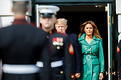 United States President Donald Trump and First Lady Melania Trump walks out to welcome Czech Republic Prime Minister Andrej Babiš and Mrs. Monika Babišová on the South Portico at White House in Washington, District of Columbia on Thursday, March 7, 2019. Credit: Ting Shen / CNP
