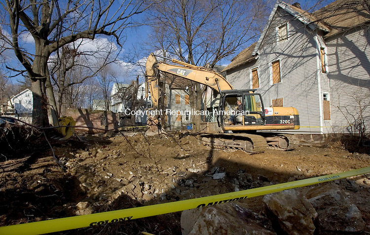 WATERBURY, CT. 02 February 2012-020112SV07-This property at 54 Hawkins Street in Waterbury is one of two blighted houses in the Crownbrook neighborhood have been demolished by the WDC Wednesday. .Steven Valenti Republican-American