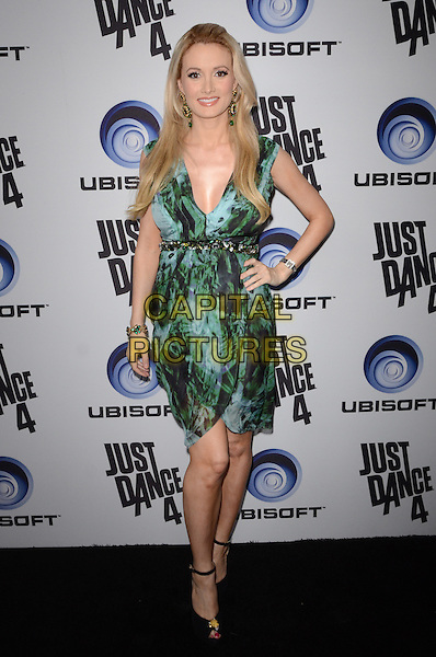 Holly Madison.Ubisoft Presents The Launch Of Just Dance 4  held at Lexington Social House, Hollywood, California, USA..October 2nd, 2012.full length dress hand on hip belt  pregnant green print wrap.CAP/ADM/TW.©Tonya Wise/AdMedia/Capital Pictures.