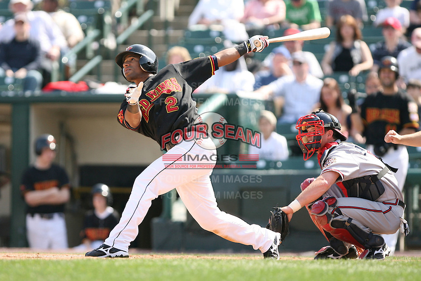 April 17th, 2008:  Alexi Casilla (2) of the Rochester Red Wings, Class-AAA affiliate of the Minnesota Twins, at bat during a game at Frontier Field in Rochester, NY.  Photo by:  Mike Janes/Four Seam Images