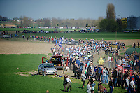 peloton attacking sector 12: Orchies (1.7km)<br /> <br /> 113th Paris-Roubaix 2015