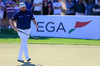 Shane Lowry (IRL) on the 13th green during the 2nd round of the Abu Dhabi HSBC Championship, Abu Dhabi Golf Club, Abu Dhabi,  United Arab Emirates. 17/01/2020<br /> Picture: Fran Caffrey   Golffile<br /> <br /> <br /> All photo usage must carry mandatory copyright credit (© Golffile   Fran Caffrey)