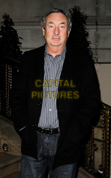 """NICK MASON .Attending the book launch party for """"In Bed With..."""" at the Artesian at The Langham Hotel, Portland Place, London, England, February 11th 2009..half length grey pinstripe shirt black coat jacket .CAP/CAN.©Can Nguyen/Capital Pictures"""