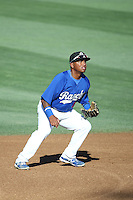 Willie Calhoun (36) of the Rancho Cucamonga Quakes in the field during a game against the San Jose Giants at LoanMart Field on August 30, 2015 in Rancho Cucamonga, California. Rancho Cucamonga defeated San Jose 8-3. (Larry Goren/Four Seam Images)