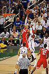 31 MAR 2012:  Tyshawn Taylor (10) of the University of Kansas goes up for a rebound against Jared Sullinger (0) of the Ohio State University during the Semifinal Game of the 2012 NCAA Men's Division I Basketball Championship Final Four held at the Mercedes-Benz Superdome hosted by Tulane University in New Orleans, LA. Kansas defeated Ohio State 64-62 to advance to the national final. Brett Wilhelm/ NCAA Photos