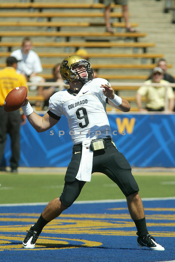 TYLER HANSEN, of the Colorado Buffaloes, in action during the Buffaloes game against the California Golden Bears on September 11, 2010 in Berkeley, California...California won the game 52-7..