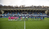 Teams shake hands before the Sky Bet League 2 match between Wycombe Wanderers and Hartlepool United at Adams Park, High Wycombe, England on 26 November 2016. Photo by Andy Rowland / PRiME Media Images.