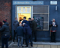 24th November 2019; Bramall Lane, Sheffield, Yorkshire, England; English Premier League Football, Sheffield United versus Manchester United; Fans queue for roast sandwiches outside Bramall lane - Strictly Editorial Use Only. No use with unauthorized audio, video, data, fixture lists, club/league logos or 'live' services. Online in-match use limited to 120 images, no video emulation. No use in betting, games or single club/league/player publications