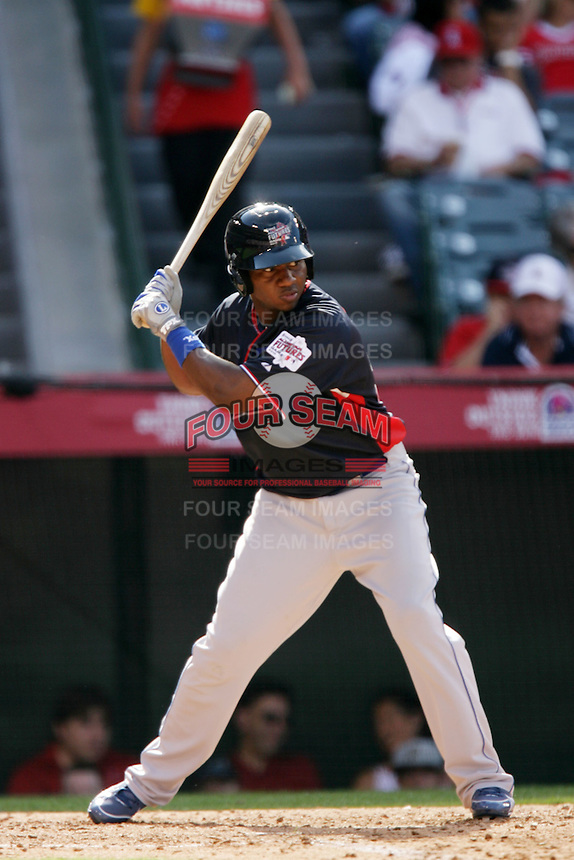Pedro Baez of the Los Angeles Dodgers organization participates in the Futures Game at Angel Stadium in Anaheim,California on July 11, 2010. Photo by Larry Goren/Four Seam Images