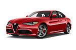 Stock pictures of low aggressive front three quarter view of 2018 Alfa Romeo Guilia Auto 4 Door Sedan
