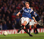 Jorg Albertz scores from the spot for Rangers in a 4-0 rout of Aberdeen at Ibrox
