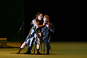 """EMBARGOED UNTIL 23:30 TUES 1ST OCTOBER, 2019. English National Opera presents """"Orpheus & Eurydice"""", by Christoph Gluck,  with libretto by Pierre-Louis Moline, version by Hector Berlioz, at the London Coliseum. Directed and choreographed by Wayne McGregor, with lighting design by Jon Clark, set design by Lizzie Clachan, costume design by Louise Gray, and video design by Ben Cullen Williams. Picture shows: Soraya Mafi (Love), Alice Coote (Orpheus)"""