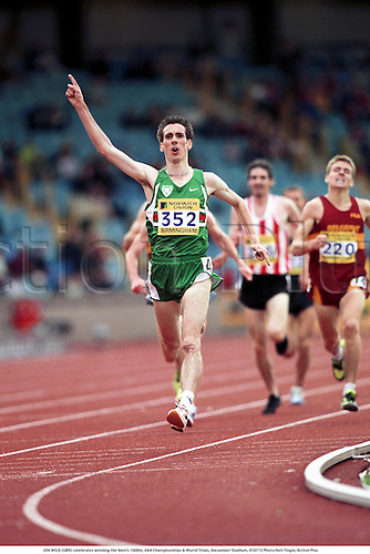 JON WILD (GBR) celebrates winning the Men's 1500m, AAA Championships & World Trials, Alexander Stadium, 010715 Photo:Neil Tingle/Action Plus...Athletics.Winners.celebration.celebrate.celebrations.joy.2001.man.track and field.male
