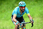 Dario Cataldo (ITA) Astana Pro Team from the breakaway group out front alone during Stage 4 of the 2018 Criterium du Dauphine 2018 running 181km from Chazey sur Ain to Lans en Vercors, France. 7th June 2018.<br /> Picture: ASO/Alex Broadway | Cyclefile<br /> <br /> <br /> All photos usage must carry mandatory copyright credit (© Cyclefile | ASO/Alex Broadway)