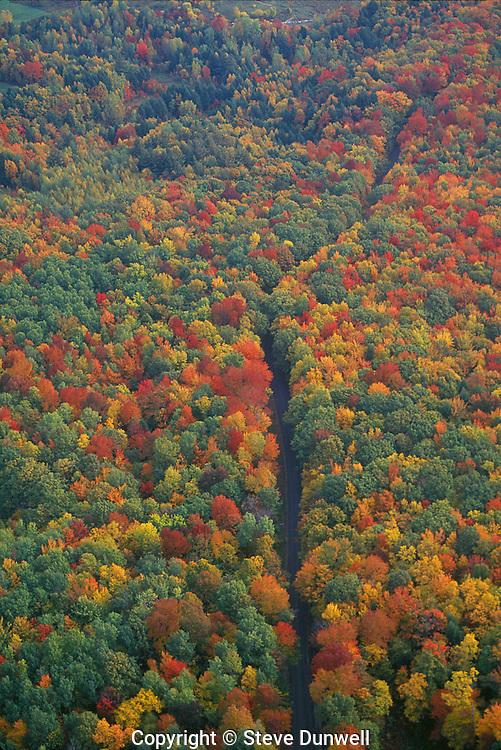 autumn road aerial, Williamstown, MA