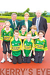 Ciara Walsh Castleisland preparing for the for the 2008 Denny Kerry Community Games Athletics Finals which will be held in An Riocht athletic track Castleisland on the 15th and 16th June watching are front row l-r: Shane Flavine Tralee, Maura O'Connell Abbeydourney, Tommy Dennehy Currow, Darragh Curtin Knocknagoshel, Aisling O'Connell Castleisland. Back row: Jim Turner Chairperson KCG, Margaret Curly KCG Secretary and Frank Hayes Director of Corporate Affairs Kerry Group