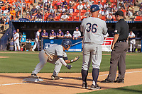 Cal State Fullerton Titans Hank LoForte (9) at third base during the game against the University of Washington Huskies at Goodwin Field on June 09, 2018 in Fullerton, California. The Cal State Fullerton Titans defeated the University of Washington Huskies 5-2. (Donn Parris/Four Seam Images)