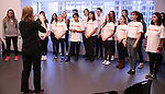 Christine Riley and The Camp Broadway Kids Ensemble in rehearsal for a medley of songs about Santa during the pre-show of The Radio City Christmas Spectacular at Open Jar Studios on November 29, 2019 in New York City.
