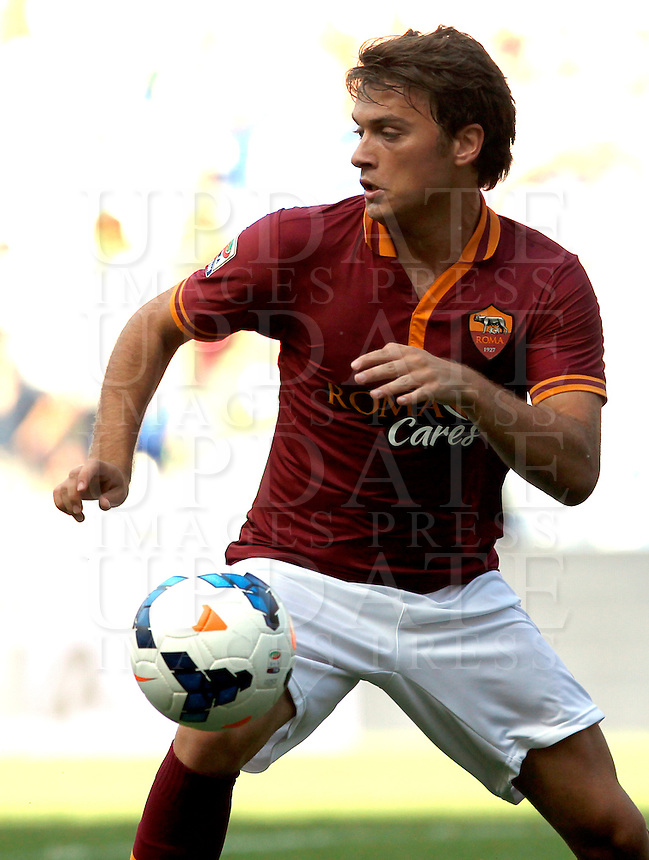 Calcio, Serie A: Roma vs Lazio. Roma, stadio Olimpico, 22 settembre 2013.<br /> AS Roma forward Adem Ljajic, of Serbia,  in action during the Italian Serie A football match between AS Roma and Lazio, at Rome's Olympic stadium, 22 September 2013.<br /> UPDATE IMAGES PRESS/Isabella Bonotto