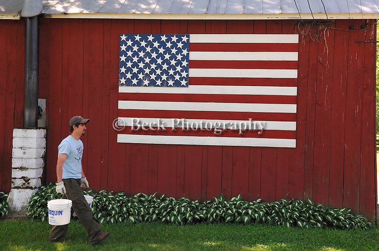 A flag is shown painted on a barn at Springdale farm as a man does his chores.