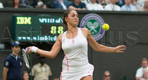 27.06.2012. The Wimbledon Tennis Championships 2012 held at The All England Lawn Tennis and Croquet Club, London, England, UK.  Tamira Paszec (AUT) v Caroline Wozniacki (DEN [7].  Tamira in action.