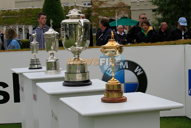 The 4 big trophies lined up tee on the 1st tee box on Day 2 of the BMW PGA Championship Championship at, Wentworth Club, Surrey, England, 27th May 2011. (Photo Eoin Clarke/Golffile 2011)