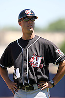 July 10th 2008:  Coach Josh Bonifay of the Hickory Crawdads, Class-A affiliate of the Pittsburgh Pirates, during a game at Classic Park in Eastlake, OH.  Photo by:  Mike Janes/Four Seam Images