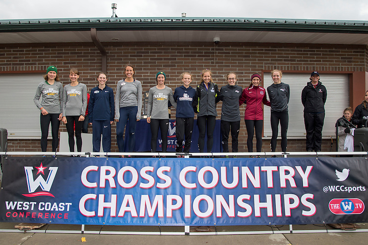 October 31, 2015; Spokane, WA, USA; 2015 WCC Women's Cross Country All-Conference First Team (not in order) Gonzaga Bulldogs runner Shelby Mills (25), Loyola Marymount Lions runner Danielle Shanahan (36), Gonzaga Bulldogs runner Jessica Mildes (24), San Francisco Dons runner Elena Burkard (99), San Francisco Dons runner Weronika Pyzik (103), Portland Pilots runner Lauren LaRocco (63), Gonzaga Bulldogs runner Jordan Thurston (27), San Francisco Dons runner Charlotte Taylor (106), BYU Cougars runner Jennica Redd (9), and BYU Cougars runner Alice Jensen (7) during the WCC Cross Country Championships at Plantes Ferry Park.