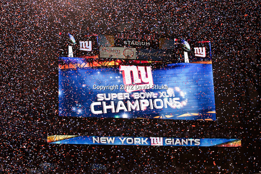 A general view of the video board after the New York Giants beat the New England Patriots during the NFL Super Bowl XLVI football game on Sunday, Feb. 5, 2012, in Indianapolis. The Giants won 21-17 (AP Photo/David Stluka)...