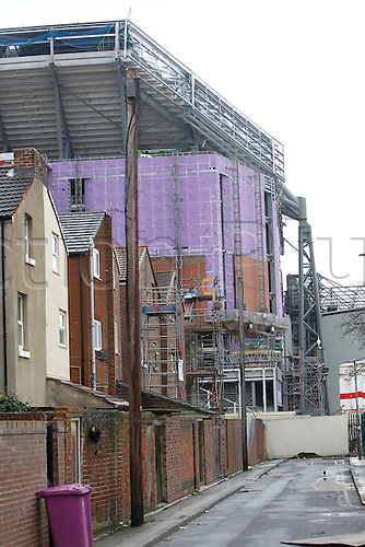 02.04.2016. Anfield, Liverpool, England. Barclays Premier League. Liverpool versus Tottenham Hotspur.  A general view of Liverpool's Anfield stadium among the surrounding terraced streets before today's game, with evident progress on the main stand development just over a year since works began.