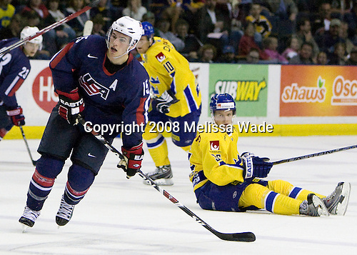 Zach Parise (USA 15 - New Jersey Devils/University of North Dakota), (Hornqvist) Anton Stralman (Sweden 36 - Toronto Maple Leafs) - Team USA defeated Team Sweden 5-1 on Sunday, April 27, 2008, in an exhibition match at the Cumberland County Civic Center in Portland, Maine, prior to the 2008 World Championships.
