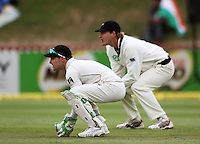 NZ's Brendon McCullum and Tim McIntosh during day four of the 3rd test between the New Zealand Black Caps and India at Allied Prime Basin Reserve, Wellington, New Zealand on Monday, 6 April 2009. Photo: Dave Lintott / lintottphoto.co.nz.