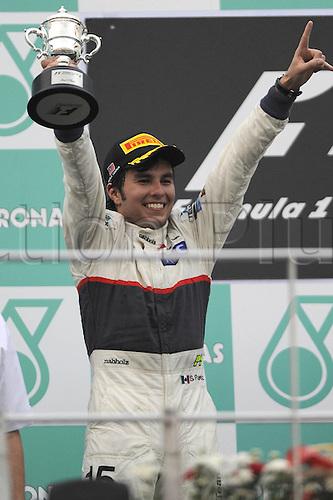 25.03.2012. Kuala Lumpur Malaysia. Formula 1 GP Malaysia in Kuala Lumpur  Sergio Perez MEX clean F1 team who came in second at the Award Ceremony