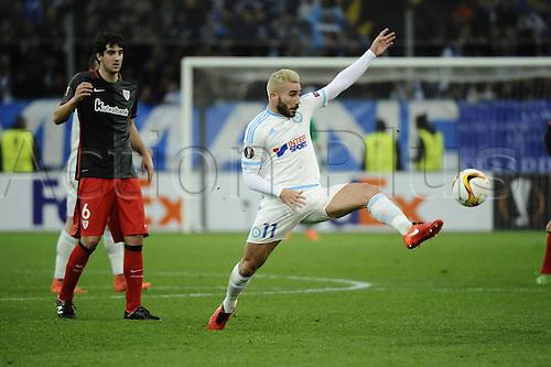 18.02.2016. Marseille, France. UEFA Europa league football. Marseille versus Athletic Bilbao.  Alessandrini (OM) brings down a high ball