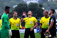 The coin toss is taken during the Oceania Football Championship final (first leg) football match between Team Wellington and Lautoka FC at David Farrington Park in Wellington, New Zealand on Sunday, 13 May 2018. Photo: Dave Lintott / lintottphoto.co.nz
