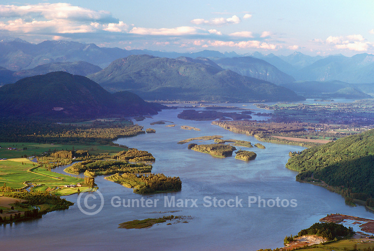 Aerial View of Scenic Fraser River, Fraser Valley and Coast Mountains near Chilliwack, BC, British Columbia, Canada