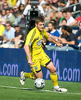Robbie Rogers dribbles along the sideline during MLS Cup 2008. Columbus Crew defeated the New York Red Bulls, 3-1, Sunday, November 23, 2008. Photo by John Todd/isiphotos.com