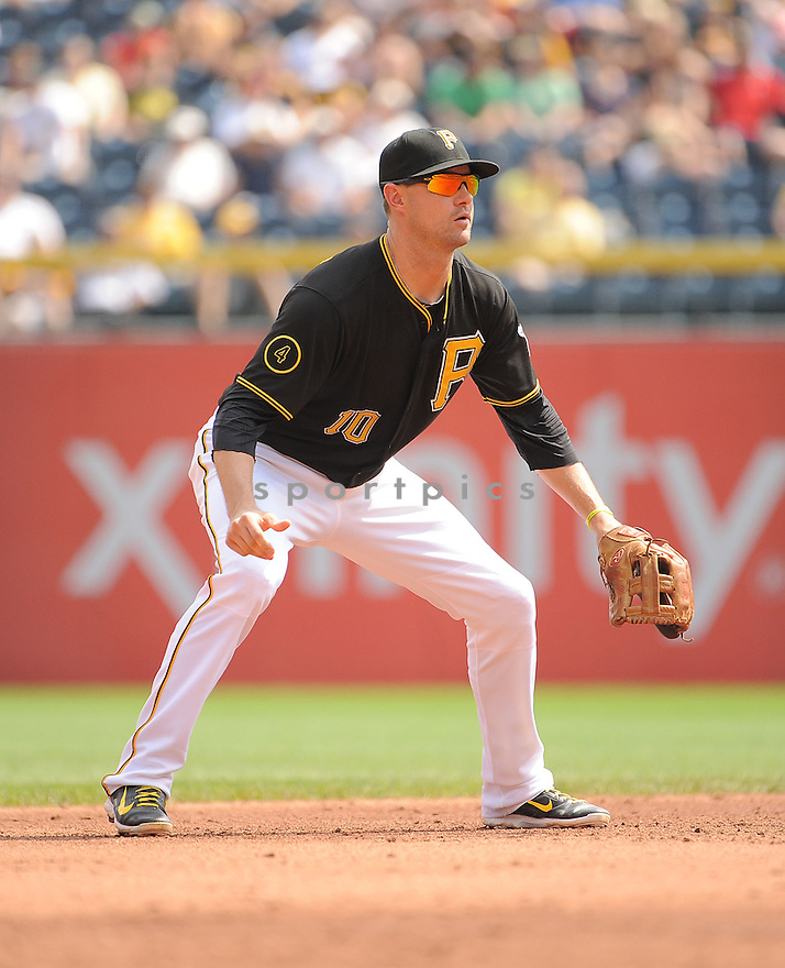 Pittsburgh Pirates Jordy Mercer (10) during a game against the St. Louis Cardinals on August 27, 2014 at PNC Park in Pittsburgh PA. The Pirates beat the Cardinals 3-1.