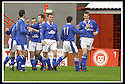 5/10/02       Copyright Pic : James Stewart                     .File Name : stewart-hamilton v stranraer 16.THE STRANRAER PLAYERS CELEBRATE AFTER ALAN JENKINS (RIGHT) HEADED HOME THE THIRD....James Stewart Photo Agency, 19 Carronlea Drive, Falkirk. FK2 8DN      Vat Reg No. 607 6932 25.Office : +44 (0)1324 570906     .Mobile : + 44 (0)7721 416997.Fax     :  +44 (0)1324 570906.E-mail : jim@jspa.co.uk.If you require further information then contact Jim Stewart on any of the numbers above.........